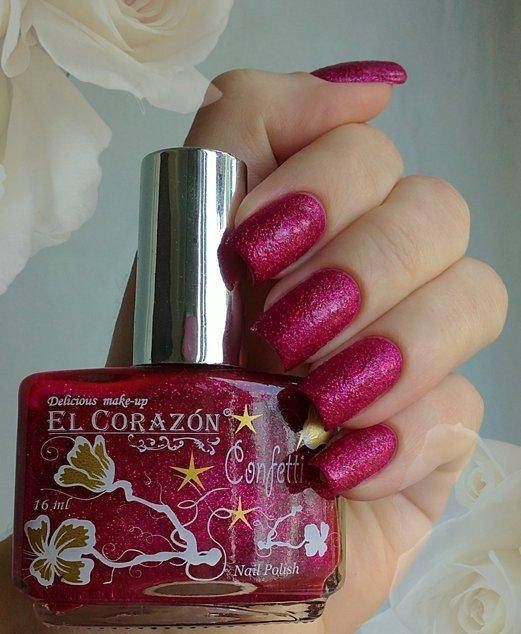 El Corazon Confetti, № 510АЛаки El Corazon<br>Лак малиновый с блестками, плотный. Объем 16 ml.<br>