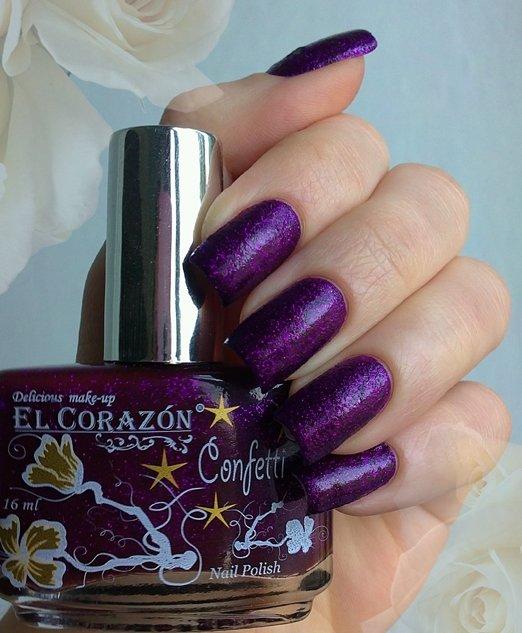 El Corazon Confetti, № 513АЛаки El Corazon<br>Лак глубокий фиолетовый с блестками, плотный. Объем 16 ml.<br>