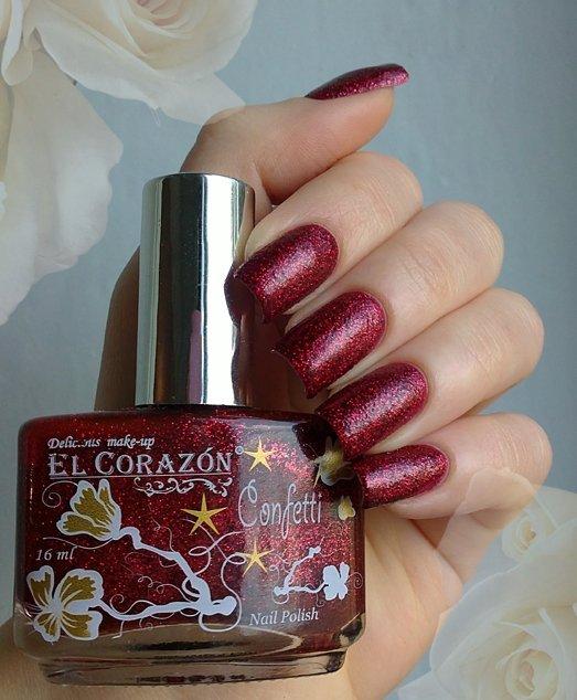 El Corazon Confetti, № 514АЛаки El Corazon<br>Лак красный с блестками, плотный. Объем 16 ml.<br>