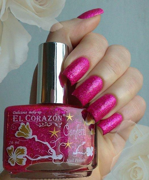 El Corazon Confetti, № 516АЛаки El Corazon<br>Лак розовый с блестками, плотный. Объем 16 ml.<br>