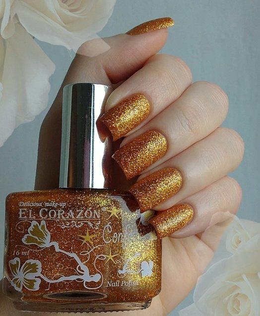 El Corazon Confetti, № 521АЛаки El Corazon<br>Лак темно-золотой с блестками, плотный. Объем 16 ml.<br>