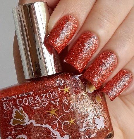 El Corazon Confetti, № 524AЛаки El Corazon<br>Лак оранжево-красный, с блестками, плотный. Объем 16 ml.<br>