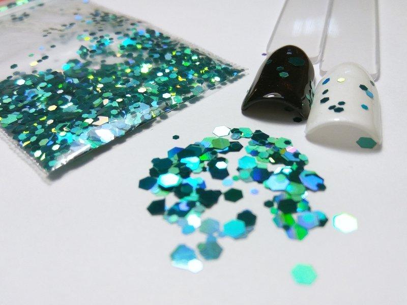 NelTes, Камифубуки - шестигранник бирюзовыйКамифубуки для дизайна ногтей<br>Камифубуки для дизайна ногтей<br>