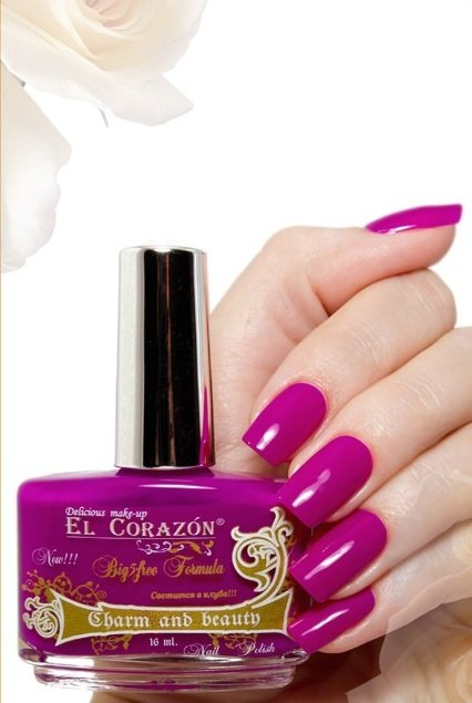 El Corazon Charm and beauty, № 856Лаки El Corazon<br>Лакярко-фиолетовый, без блесток и перламутра, плотный.Объем 16 ml.<br>
