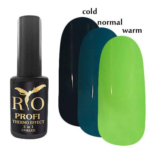 Rio Profi, Каучуковый гель-лак - Termo Effect 3в1 №3 (7 мл.)Rio Profi<br>Гель-лак термо, в тепле салатовый/ в обычном состоянии темно-бирюзовый/ в холоде черно-бирюзовый, глянцевый,плотный<br>