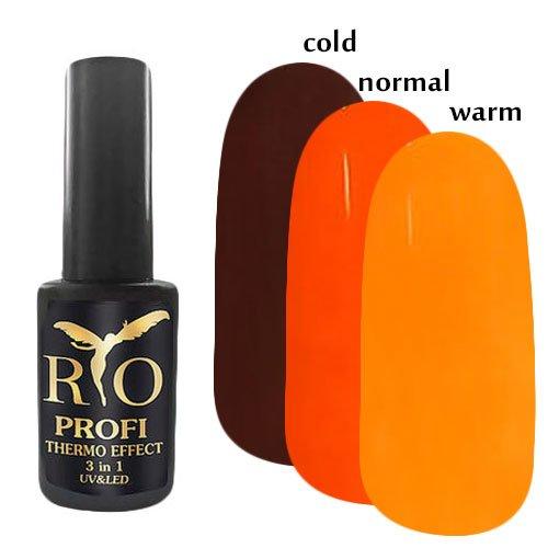Rio Profi, Каучуковый гель-лак - Termo Effect 3в1 №4 (7 мл.)Rio Profi<br>Гель-лак термо, в тепле оранжевый/ в обычном состоянии темно-оранжевый/ в холоде коричневый, глянцевый,плотный<br>