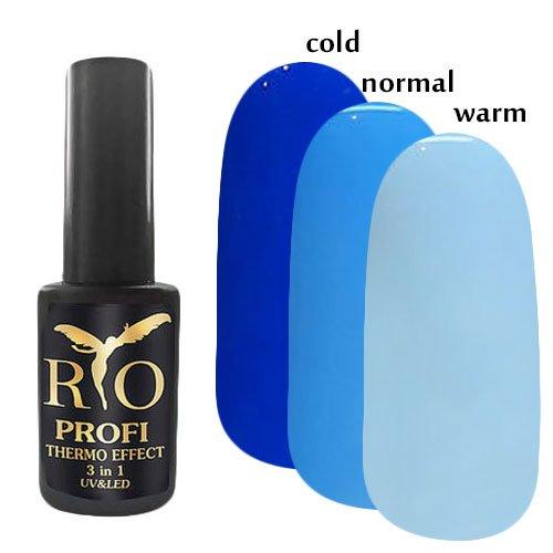 Rio Profi, Каучуковый гель-лак - Termo Effect 3в1 №6 (7 мл.)Rio Profi<br>Гель-лак термо, в тепле светло-голубой/ в обычном состоянии голубой/ в холоде синий, глянцевый,плотный<br>