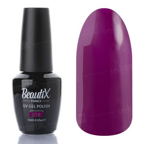 Beautix, Гель-лак №618 (15 мл.)Beautix<br>Гель-лак, фиолетовый,глянцевый, без блесток и перламутра, плотный<br>