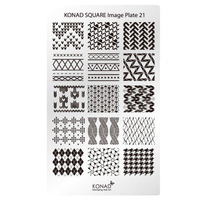 Konad, диск для стемпинга Square Image Plate 21Диски для стемпинга Konad<br>В пластине для стемпинга представлены изображения на тему Тканевые принты.<br>