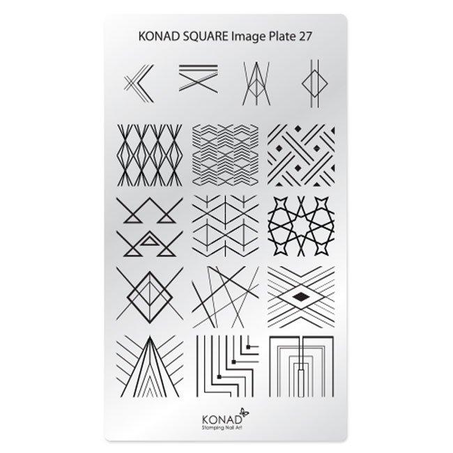 Konad, диск для стемпинга Square Image Plate 27Диски для стемпинга Konad<br>В пластине для стемпинга представлены изображения на тему Геометрия.<br>