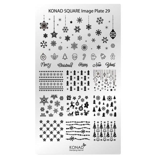 Konad, диск для стемпинга Square Image Plate 29Диски для стемпинга Konad<br>В пластине для стемпинга представлены изображения на тему Новый Год.<br>