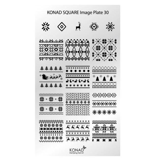 Konad, диск для стемпинга Square Image Plate 30Диски для стемпинга Konad<br>Представлены изображения на тему Вязаные рисунки в нордическом стиле.<br>