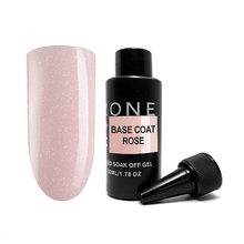 OneNail, Base Coat Rose - Камуфлирующая база для гель-лака с шиммером (50ml.)
