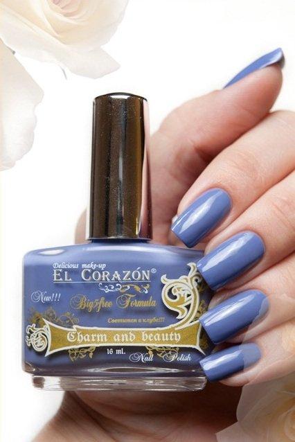 El Corazon Charm and beauty, № 881Лаки El Corazon<br>Лак лилово-голубой, без блесток и перламутра, плотный.Объем 16 ml.<br>