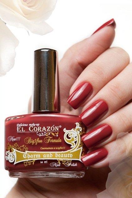 El Corazon Charm and beauty, № 883Лаки El Corazon<br>Лак мягкого бордово-красного оттенка,плотный, без блесток и перламутра.Объем 16 ml.<br>