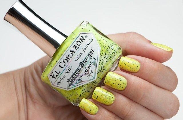 El Corazon Active Bio-gel Fenechka, № 423/122Лечебный биогель El Corazon<br>Био-гелькислотно-желтый с черными и белыми блестками, неоновый, плотный. Объем 16 ml.<br>