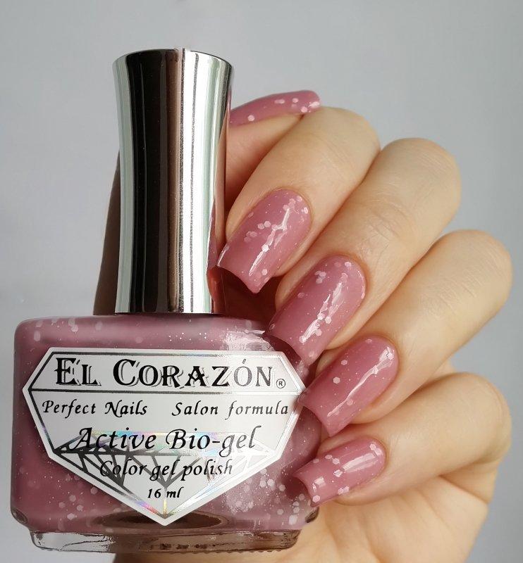 El Corazon Active Bio-gel, Fashion girl on a premiere №423-207Лечебный биогель El Corazon<br>Био-гель бежево-розовый, с белыми блестками,плотный. Объем 16 ml.<br>