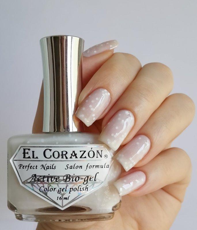 El Corazon Active Bio-gel, Fashion girl on a wedding №423-208Лечебный биогель El Corazon<br>Био-гель белый, с белыми блестками,полупрозрачный. Объем 16 ml.<br>