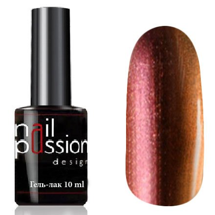 Nail Passion, Гель-лак - Эльдорадо 6010 (10 мл.)Nail Passion<br>Гель-лак, дуохром розово-оранжевый, с перламутром, плотный<br>