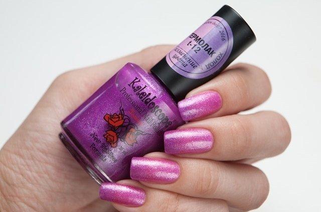 El Corazon, Kaleidoscope № T-12Термолаки El Corazon<br>Термолак, цвет холодный розовый - насыщенный розово-лиловый перламутровый с добавлением черных микрочастиц, плотный. 15ml.<br>