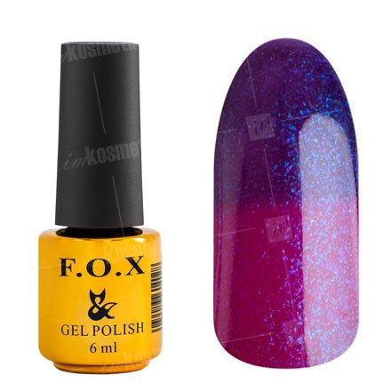 F.O.X, Гель-лак - Thermo 014 (6 ml.)F.O.X<br>Термо гель-лак в холоде фиолетовый/ в тепле лиловый, с фиолетовыми блестками, плотный<br>