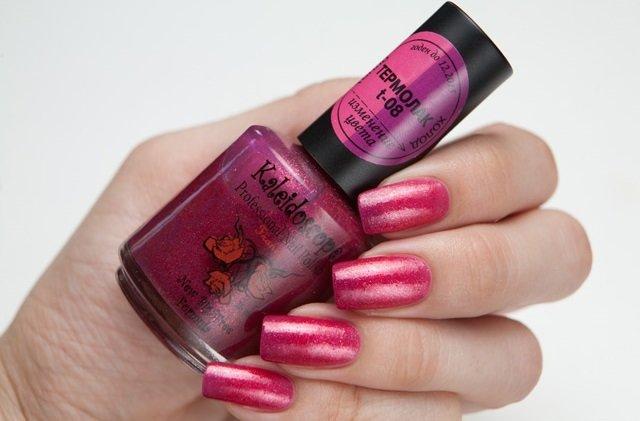 El Corazon, Kaleidoscope № T-08Термолаки El Corazon<br>Термолак, цвет насыщенно-розовый - розово-фиолетовый с мелкими розовыми блестками, полупрозрачный. 15ml.<br>