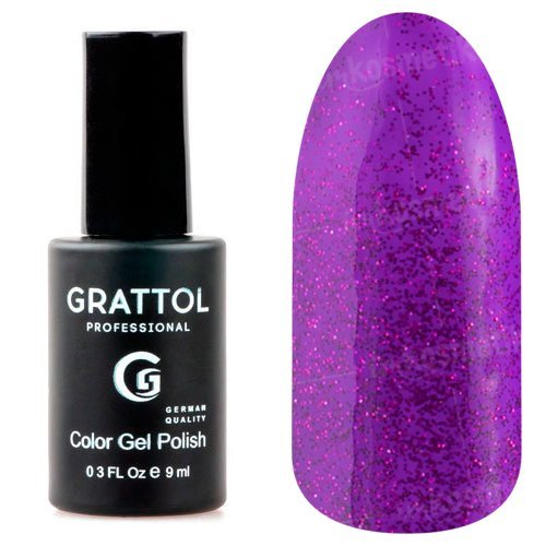 Grattol, Гель-лак Luxury Stones - Amethyst №03 (9 мл.)Grattol<br>Гель лак яркий фиолетово-розовый,с блестками, плотный<br>