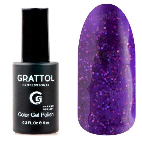Grattol, Гель-лак Luxury Stones - Diamond №05 (9 мл.)Grattol<br>Гель лак фиолетовый,с голографическими блестками, плотный<br>