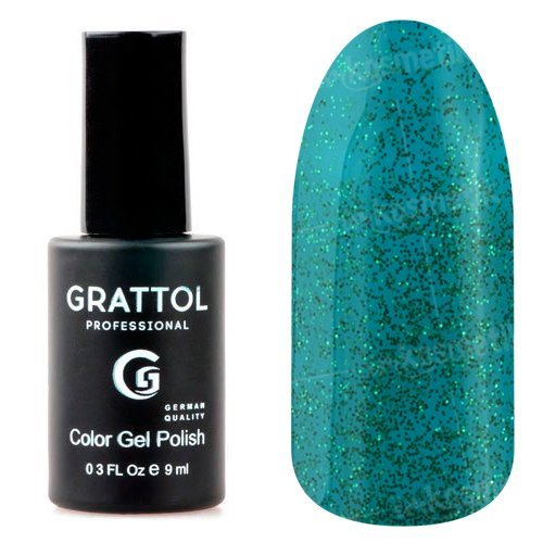 Grattol, Гель-лак Luxury Stones - Emerald №01 (9 мл.)Grattol<br>Гель лак бирюзовый, с изумрудными блестками, плотный<br>
