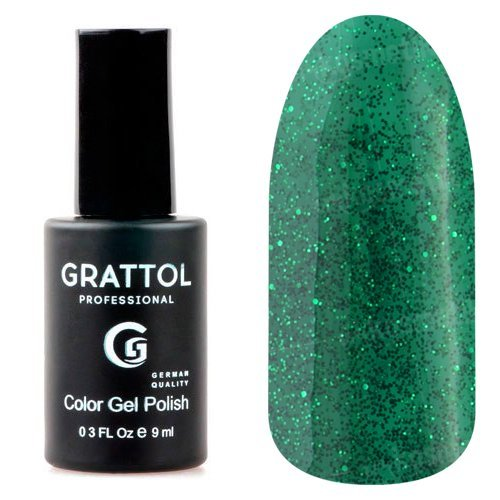 Grattol, Гель-лак Luxury Stones - Emerald №02 (9 мл.)Grattol<br>Гель лак изумрудный, с блестками, плотный<br>