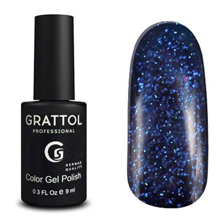 Grattol, Гель-лак Luxury Stones - Sapphire №01 (9 мл.)Grattol<br>Гель лак синий, с блестками, плотный<br>