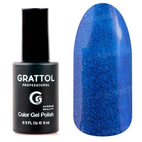 Grattol, Гель-лак Luxury Stones - Sapphire №03 (9 мл.)Grattol<br>Гель лак ультрамарин, с блестками, плотный<br>