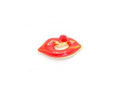 TNL, Металлическая фурнитура - Поцелуй с красным камнем (4 шт.в уп.)Металлические украшения<br>Металлическая фурнитура - Поцелуй с красным камнем<br>