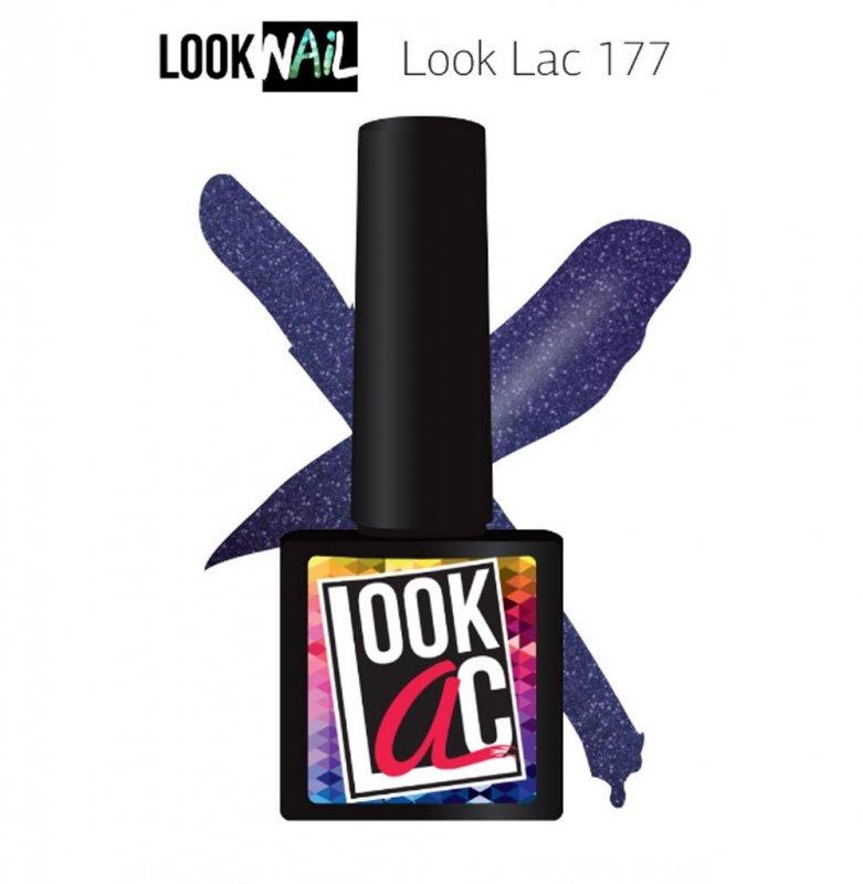 Look Nail, LookLAC - Гель-лак №177 (10 ml.)Look Nail<br>Гель-лак фиолетовый, с блестками, плотный<br>