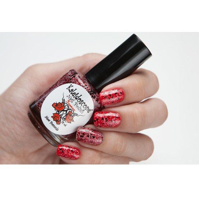 El Corazon, Kaleidoscope Кружева и пайетки № 12Лаки Kaleidoscope<br>Лак для ногтей прозрачный, с мелкими белыми и красными и крупными чёрными блестками. 14ml.<br>
