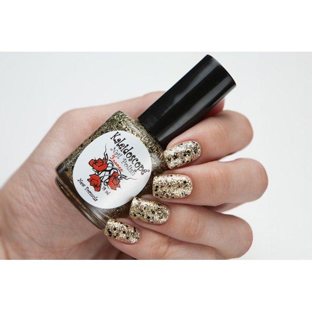 El Corazon, Kaleidoscope Кружева и пайетки № 10Лаки Kaleidoscope<br>Лак для ногтей прозрачный, с мелкими золотыми, белыми блестками и крупнымичерными.14 ml.<br>