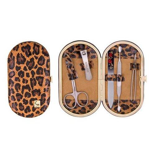 Staleks, Набор маникюрный - Рамка Овал НМ-04-3Р (5 предметов, леопард коричневый - 131)Маникюрные наборы<br>Набор маникюрный - Рамка Овал (леопард коричневый)<br>