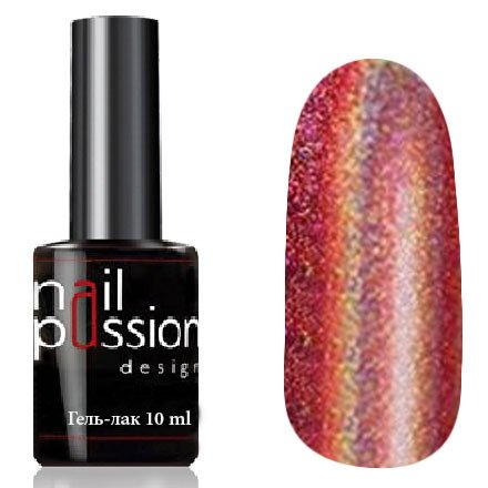 Nail Passion, Гель-лак - Огненный импульс 4114 (10 мл.)Nail Passion<br>Гель-лак,красно-розовый голографический, плотный<br>