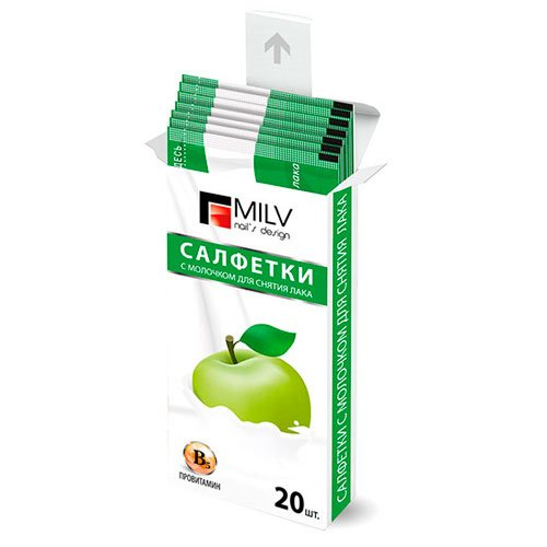 MILV, Салфетки для снятия лака Яблоко (20 шт.)Салфетки для снятия с пропиткой<br>Салфетки для снятия гель-лака Яблоко.<br>