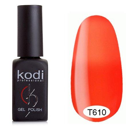 Kodi, Термо гель-лак № Т610 (8 ml)Kodi Professional <br>Гель-лакнасыщенно-орнажевый/светлый кислотно-оранжевый, без блесток и перламутра, полупрозрачный, неоновый.<br>