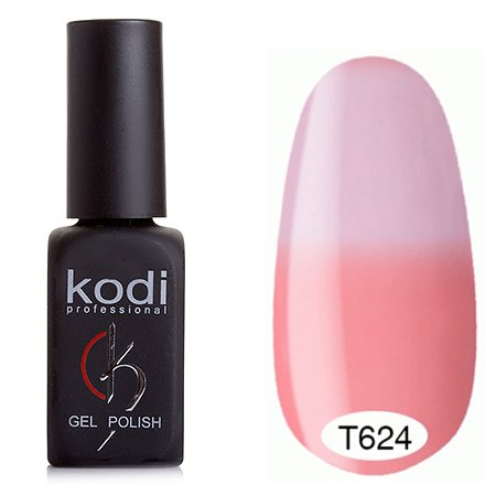 Kodi, Термо гель-лак № Т624 (8 ml)Kodi Professional <br>Гель-лакнасыщенный теплый розовый/пастельный лавандово-розовый, без блесток и перламутра, плотный.<br>