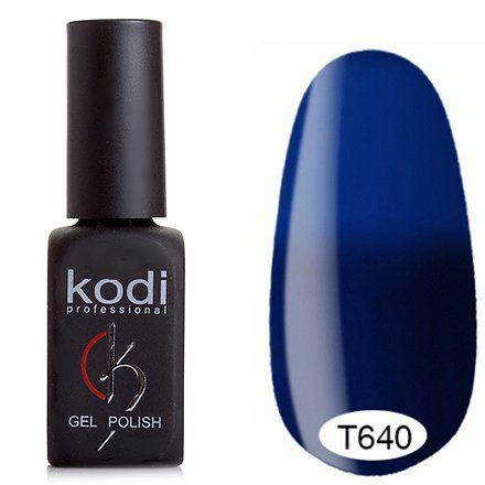 Kodi, Термо гель-лак № Т640 (8 ml)Kodi Professional <br>Гель-лак тёмно-кобальтовый/светло-кобальтовый, без блесток и перламутра, плотный.<br>