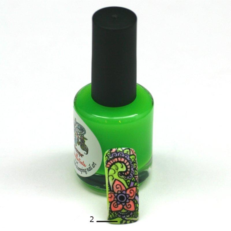 El Corazon Aquarelle tints, № 02Лаки Kaleidoscope<br>Неоново-зеленый,полупрозрачнй,без блесток и перламутра.Объем 15 ml.<br>