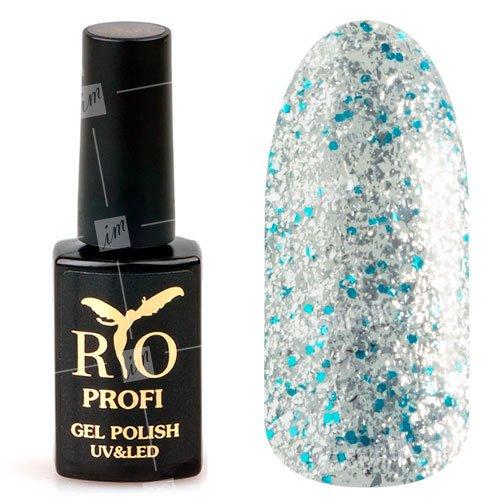 Rio Profi, Гель-лак каучуковый - Ледяная Россыпь №188 (7 мл.)Rio Profi<br>Гель-лак каучуковый, с блестками голубыми и серебряными, плотный<br>