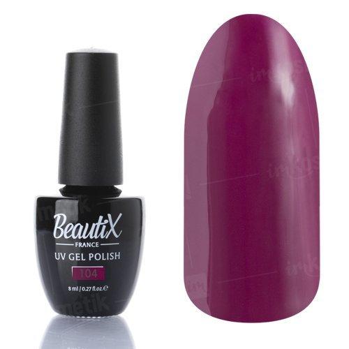 Beautix, Гель-лак №104 (8 мл.)Beautix<br>Гель-лак, фиолетово-бордовый, глянцевый, плотный<br>