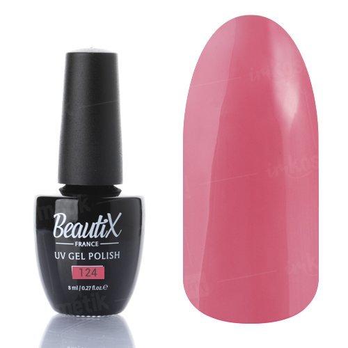 Beautix, Гель-лак №124 (8 мл.)Beautix<br>Гель-лак, теплый розовый, глянцевый, плотный<br>