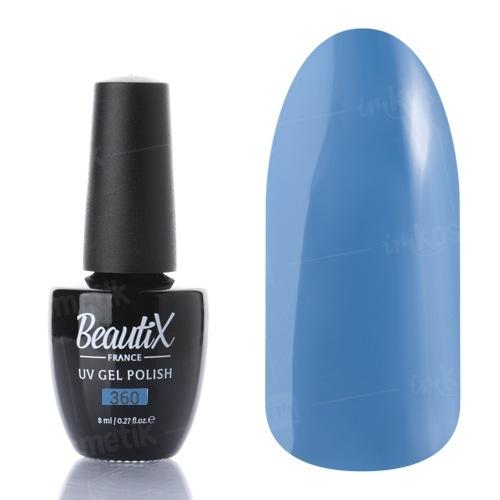 Beautix, Гель-лак №360 (8 мл.)Beautix<br>Гель-лак, приглушенный синий,глянцевый, без блесток и перламутра, плотный<br>