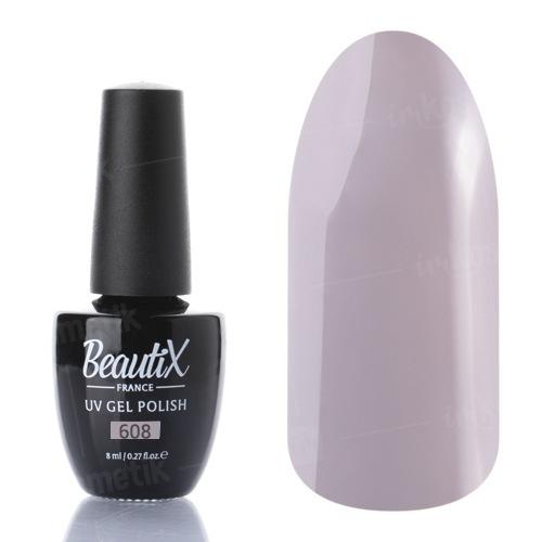 Beautix, Гель-лак №608 (8 мл.)Beautix<br>Гель-лак, светло-серый, глянцевый, плотный<br>