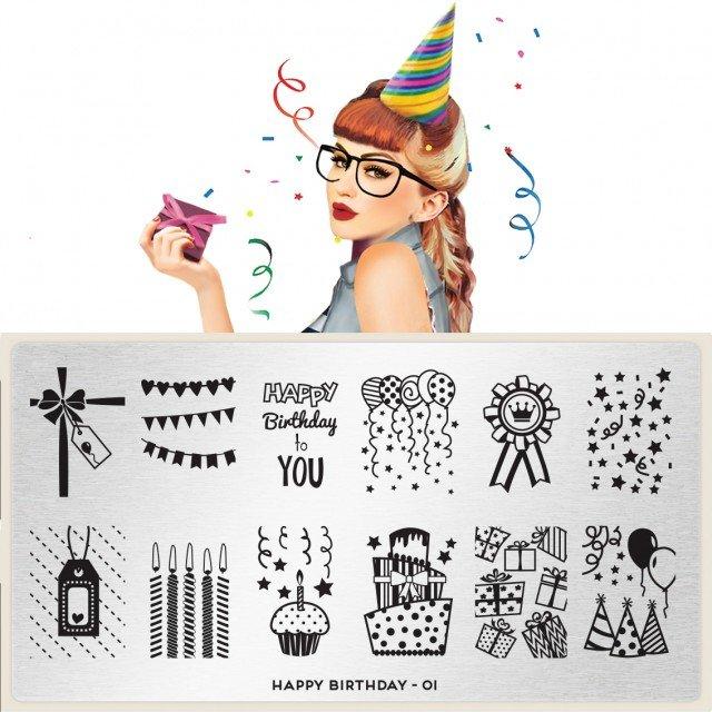 Пластина MoYou London Festive Birthday 01Пластины для стемпинга MoYou London<br>Коллекция Festive<br>