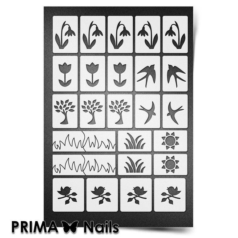 PrimaNails, Трафарет для дизайна ногтей New Size - ВеснаPrimaNails<br>Самоклеющиеся трафареты мини<br>